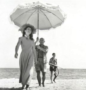 """""""Pablo Picasso & Francoise Gilot, Golfe-Juan, France, August"""" 1948"""