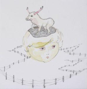 """""""Homunculus Sketch, Girl with Moose"""" 2007"""