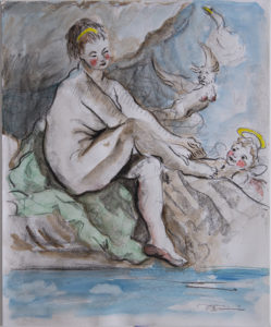 """""""After Boucher: Study of a Seated Young Female Nude Extending Her Hands to Her Right Foot with Harpies and Cupid"""" 2020"""