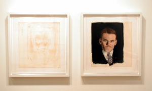"""2 Photographs of an Unframed Painting on Paper of a Man"" 2008"