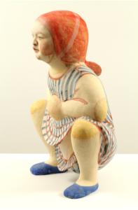 """Squatting Girl in Striped Dress"" 2012"