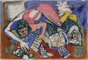 Untitled (Nude Figure Lying with Bird and Figurines)  1986-1987