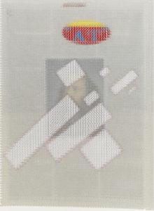 """""""Kazmir Malevich Flying Rectangles, Albert Oehlen Poster Fragment, Rick Rubin"""" 2014"""