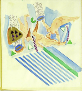 """Untitled (Reclining Female Nudes and Blue Stripes)"" 1970"